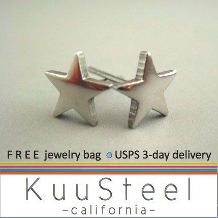 Mens Earrings Stud Silver Huggie - Star Steel Jewelry For Men � Super Star (#411)