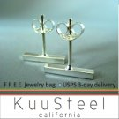 Mens Earrings Sterling Silver Stud - Cool Jewelry For Guys -Bar (#464)