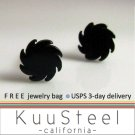 Mens Earrings Black Stud - Earrings For Guys–Circular Blade (#417)