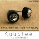 Mens Earrings Rhinestone Diamond Stud 6mm - Black Guys Earrings Hip Hop Style (#434)