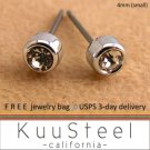 Mens Earrings Rhinestone Diamond Stud 4mm- Silver Guys Earrings Hip Hop Style (#431)