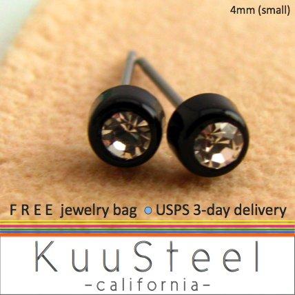 Mens Earrings Rhinestone Diamond Stud 4mm - Black Guys Earrings Hip Hop Style (#432)