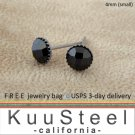 Mens Black Diamond Earrings 4mm-925 Sterling Silver Stud Earrings for Men- Black CZ Diamond (#429)