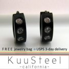 Mens Earrings Black Hoop 3 Diamonds - Earrings For Men – Medium 3 CZs (#155A)