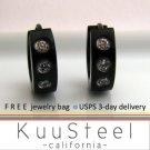Mens Earrings Black Hoop 3 Diamonds - Earrings For Men – Medium 3 CZs (#155A)