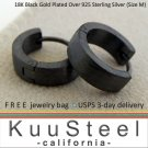 Mens Black Hoop Earrings-18K Black Gold Plated-Medium (#E150MB)