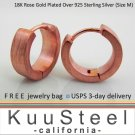 Mens Hoop Earrings Huggie -18K Rose Gold Plated-Medium (#E150MR)
