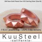 Sterling Silver Hoops - Mens Earrings Huggie 18K Rose Gold Plated -Big Spike Medium (#E153MR)