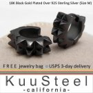 Sterling Silver Hoop - Mens Earrings 18K Black Gold Plated -Double Spikes Medium (E154MB)