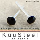 Mens Black Diamond Earrings 2.5mm-Stud Earrings for Men- Black CZ Diamond (#421)
