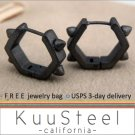 PROMOTION: Sterling Silver Hoop Earrings-18K Black Gold Plated-Mens Earrings Hexagon Rock(#E251MB)
