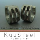 Mens Earrings Silver Hoop Huggie - Bold Steel Earrings For Men – Bold Cut Stripes (#174)