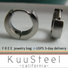 Mens Earrings Silver Hoop Huggie – Stainless Steel Earrings For Guys – Medium (#150)