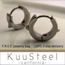 Mens Earrings Silver Hoop Huggie - Stainless Steel Jewelry For Guys – Medium with Spikes (#151)