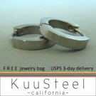 Mens Earrings Silver Hoop Huggie  Stainless Steel Earrings For Guys  Medium Modern Slim (#130)