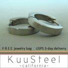 Mens Earrings Silver Hoop Huggie – Stainless Steel Earrings For Guys – Medium Modern Slim (#130)