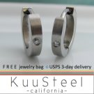 Mens Diamond Earrings Silver Hoop – Steel Earrings For Guys – Medium Slim Diamond CZ (#131)