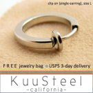 Mens Clip On Earring Silver Hoop – Steel Earrings For Guys – Size L Single (#571)