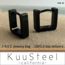 Mens Earrings Black Hoop Huggie - or Ear Cartilage Piercing or Eyebrow Ring – XS Square (#215)