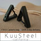 Mens Earrings Black Hoop Huggie Men– Steel Earrings for Men – Triangle (#214)