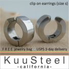 Mens Clip On Earrings Silver Hoop – Ear Cartilage - Ear Cuff - Nose Ring - Steel Size S (#578A)