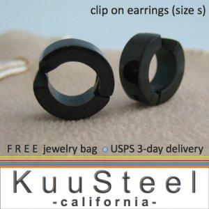 Men's clip on hoop earrings, small black stainless steel soft hinge clip on earrings, EC578B