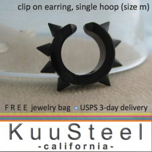 Men's clip on earrings, non piercing black steel thorn hoop earring, EC579