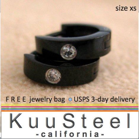 Mens Diamond Earrings XS Hoop Black Huggie - Cartilage Earrings For Men � Extra Small (#101B)