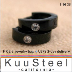 Mens Diamond Earrings XS Hoop Black Huggie - Cartilage Earrings For Men &acirc; Extra Small (#101B)