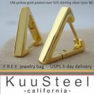 Mens Hoop Earrings Huggie - Triangle & Square Series - 18K Yellow Gold Plated - Medium (#E233SY)