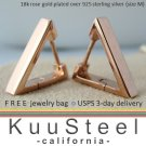Mens Hoop Earrings Huggie - Triangle & Square Series - 18K Rose Gold Plated - Medium (#E233SR)