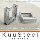 Square hoop men's earrings handmade from sterling silver E211MW
