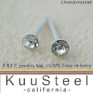 Mens Diamond Earrings 2.5mm-Stud Earrings for Men- White CZ Diamond (#421B)