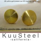Mens Gold Stud Earrings - Gold Plated 925 Silver – Look Like Plug Earrings - XL Flat Disc (#420B)