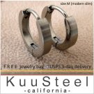 Mens Earrings Matte Silver Hoop Huggie – Stainless Steel Earrings For Guys – Medium Slim (#134)
