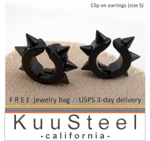 Men's clip on earrings, black stainless steel hoop earrings with spikes, 579A