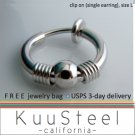 Mens Clip On Earring Silver Hoop – Steel Earrings For Guys – Size L Single with bead (#575)