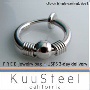 Clip on hoop earring for men, non piercing hoop earring, EC575