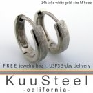 14K REAL White Gold Mens Earrings Hoop - Medium Slim Hoops For Men (#E002MW)