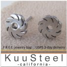 Men's stud earrings, stainless steel blade in motion stud earrings, EC428A