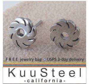 Men's stud earrings, stainless steel blade in motion stud earrings, EC428A