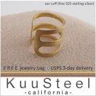 Mens Ear Cuff Earring – Sterling Silver Earrings 18K Yellow Gold Plated – Ear Cuff (#102D)