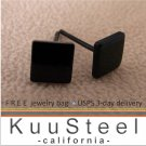 Black Square Stud Earrings for Men - Stainless Steel (#420F)