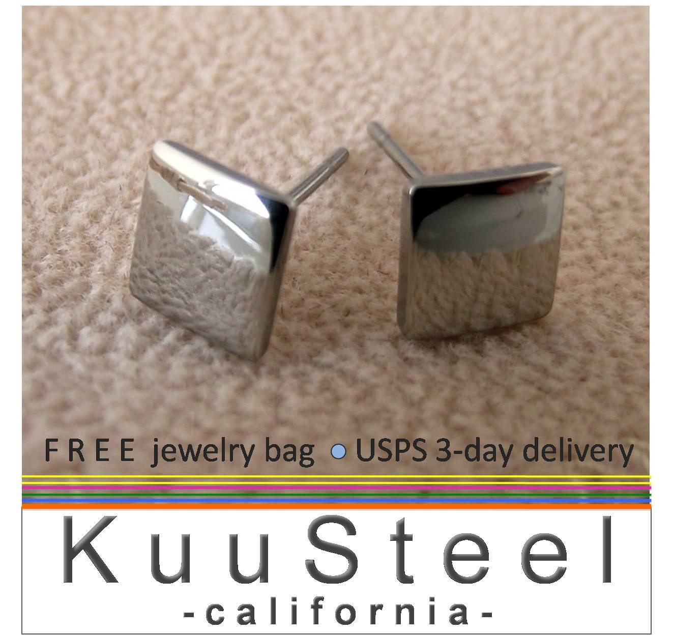 Men's stud earrings in a flat square design made from stainless steel, 420G