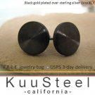 Mens Black Stud Earrings - Gold Plated 925 Silver – Look Like Plug Earrings - XL Flat Disc (#420C)