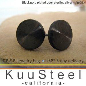Cheater plugs, fake plug earrings, men's stud earrings, 10mm flat disc studs, EC420 10MB