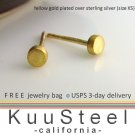 Mens Stud Earrings - Yellow Gold Plated 925 Silver - Discreet - XS Flat Disc (#420K)