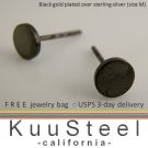 Mens Black Stud Earrings - Gold Plated 925 Silver – Look Like Plug Earrings - M Flat Disc (#420H)