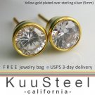 Mens Diamond Earrings -Silver Stud Earrings for Men- 1 carat equivalent (#434B)