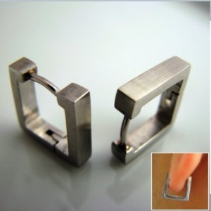 Mens Earrings Silver Hoop Huggie - Square Earrings For Men &acirc; Square (#210)